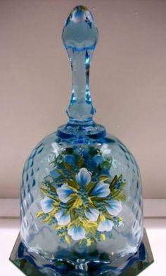 Fenton Aquamarine Glass w/Aqua Pearl Buds & Gold Leaf Bell OOAK