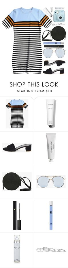 """Striped Dress"" by genuine-people ❤ liked on Polyvore featuring Rodin Olio Lusso, Byredo, Lancôme, Thierry Mugler, Kenneth Cole, Kendra Scott, Fujifilm, Blue and orange"