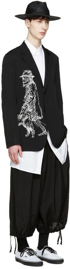 Yohji Yamamoto Black Wool Drawing Blazer