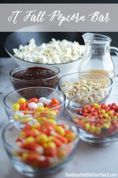 Fall Snacking: Popcorn Bar & a recipe for Spiced Mexican Chocolate Sauce, yum! HandmadeintheHeartland.com