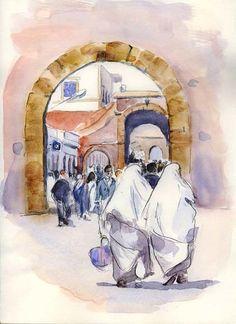Maroc - Femmes à Essaouira - Peinture, 20x30 cm ©2004 par Catherine Rossi -