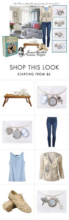 Jane Austen Game Night by csliteraryjewelry on Polyvore featuring handmade #JaneAusten Bangle Bracelets by C. S. Literary Jewelry and the Marrying Mr. Darcy #PrideAndPrejudice Card Game.