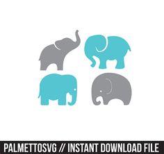 los elefantes bebé set svg dxf archivo descarga inmediata plantilla silhouette cameo cricut clip arte niño guardería animales