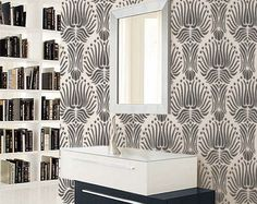 living room ?    STENCIL for Walls  Art DECO Flower Pattern  by OliveLeafStencils, $39.95