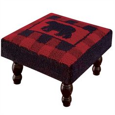 Buffalo Check Bear Hooked Stool - Black & Red Checks - Park Designs - Free Ship for sale online Country Furniture, Country Decor, Rustic Decor, Black Furniture, Textiles, Lodge Decor, Buffalo Check, Home Decor Trends, Bars For Home