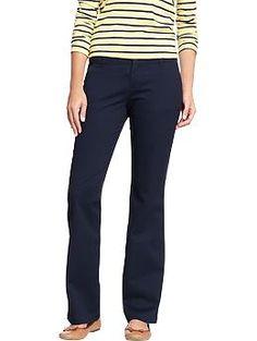 PANTS - Womens The Flirt Everyday Boot-Cut Khakis - Size 2 - Classic Navy - $19.  http://oldnavy.gap.com/browse/product.do?cid=41876&vid=3&pid=649773022