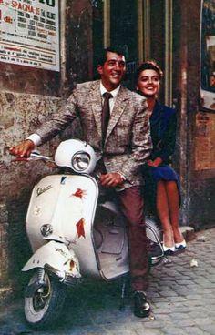 Dean Martin on a Vespa. One of my favorite men even rode a Vespa! Piaggio Vespa, Lambretta Scooter, Vespa Scooters, Dean Martin, Vintage Vespa, Vintage Heels, Vespa Girl, Scooter Girl, Triumph Motorcycles