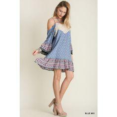 UmGee Cold Shoulder Print Dress (59 BAM) ❤ liked on Polyvore featuring dresses, blue mix, blue dress, mixed print dress, cut out shoulder dress, open shoulder dress and blue pattern dress
