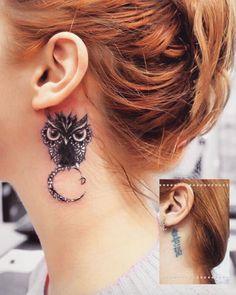 Behind-the-ear owl tattoo by Anna Yershova