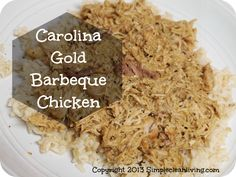 All Day Carolina Gold Barbecue Chicken | You'll want to serve this barbecue pulled chicken recipe over rice or on buns!