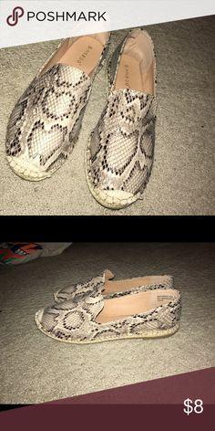 SNAKESKIN PRINT ESPADRILLE FLATS Cute, neutral print flats. Bamboo brand. Worn once. Size 7.5 Bamboo Shoes Espadrilles