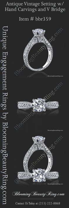 Antique Inspired Diamond Engagement Ring with hand-engraving.  All handmade quality and made in the USA by BloomingBeautyRing.com  (213) 222-8868