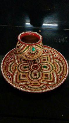 Designer pooja thali Arti Thali Decoration, Kalash Decoration, Diwali Decorations, Festival Decorations, Handmade Decorations, Diwali Craft, Diwali Gifts, Diy Arts And Crafts, Hobbies And Crafts