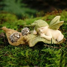 SLEEPING FAIRY BABY WITH HEDGEHOGS - This is the perfect fairy baby for the fairy lover OR the lover of fairies and hedgehog's. These cheeky spiky fairy friends will frolic and play while their fairy friend is awake. But when this divine fairy baby catches a magical fairy nap, they will make sure that a peaceful and enchanting snooze is had. #fairygardeningaustralia