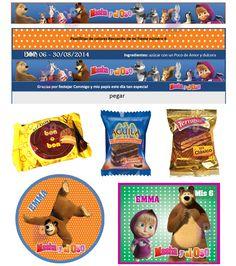 Masha y el Oso Kit Imprimible Invitaciones de cumpleaños Tarjetas + Candy Bar – Fiesta Imprimible