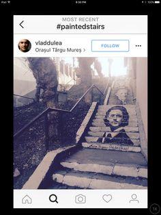 Painted stairway portrait street art