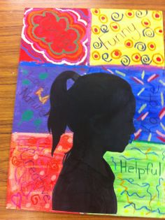 Drip, Drip, Splatter Splash: Portrait Silhouettes and characteristics. A neat way to get kids thinking about who they are.