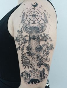 Deer half sleeve tattoo - 85+ Inspiring Deer Tattoo Designs