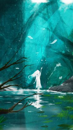 Lake, spirit, anime girl, original, fantasy, 720x1280 wallpaper Amazing Drawings, Amazing Art, Anime Fantasy, Fantasy Art, Rpg, Anime Scenery, Fantasy Places, Beautiful Anime Girl, Character Art