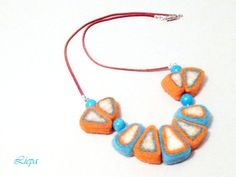 Orange turquoise and white felted necklace felt  wool by liepatuja, €28.00