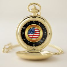 Gold smooth frame with a American nation flag 5 Pocket Watch - diy cyo customize create your own personalize