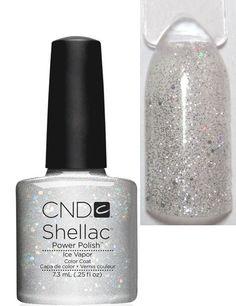 Купить cnd shellac ice vapor - серебряные блестки на прозрачной ...