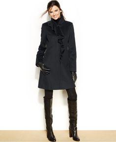 DKNY Wool-Blend Ruffled Walker Coat - Coats - Women - Macy's