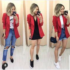 Looks com blazer vermelho Jeans and red blazer – Short mom Jeans and red blazer – Black skirt and red Blazer Outfits Casual, Cute Casual Outfits, Chic Outfits, Fall Outfits, Summer Outfits, Fashion Outfits, Red Jeans Outfit, Fashion Blouses, Blazer Fashion