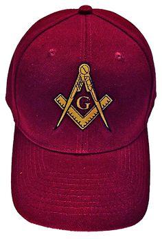 Mason Hat Maroon Baseball Cap with Masonic Logo Freemasons Shriners Prince Hall Lodge Headwear