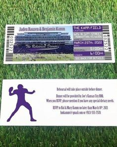 These Ticket Invitations are the perfect fit for your Football or other Sport Themed Wedding or Event. Make your Rehearsal Dinner Invite fit your theme by inviting your guests with with tickets! These are also available with an RSVP card or Postcard. Softball Wedding, Basketball Wedding, Sports Wedding, Rehearsal Dinner Invitations, Rehearsal Dinners, Wedding Invitations, Ticket Invitation, Invite, Photo Magnets