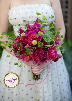I just LOVE this bouquet - nice mix of flowers, greens, berries, and interesting textures not just blooms. Right color too, and I can have a snack ;)