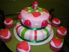 Strawberry Shortcake Fondant Cake and fondant cupcake topppers