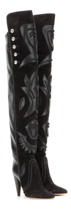 Isabel Marant Becky embellished suede and leather over-the-knee boots. Wedge Boots, Bootie Boots, Shoe Boots, Shoe Bag, Cinderella Shoes, Over The Knee Boots, Isabel Marant, Me Too Shoes, High Heels