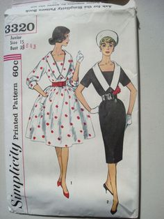 1950's dress pattern envelope. Love the figures as well as the sketches from that time era.