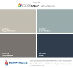 found these colors with ColorSnap® Visualizer for iPhone by Sherwin-Williams: Gauntlet Gray (SW Agreeable Gray (SW Urbane Bronze (SW Sea Salt (SW Grey Exterior, House Paint Exterior, Exterior Paint Colors, Exterior House Colors, Paint Colors For Home, Paint Colours, Exterior Houses, Exterior Shutters, Paint Color App