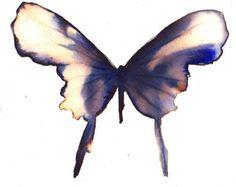 Asia inspirado mariposa oro, viola y negro pintura original de la acuarela