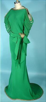 Circa 1930s silk jade evening gown.