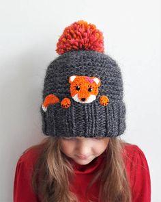 b33a6b18d Sombrero con apliques de FOX hermosa ganchillo cosida sobre en mano punto  pom pom. ¡