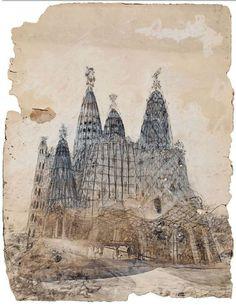 Dibujo con la perspectiva exterior de la iglesia de la colonia Güell, de Antobio Gaudí. De este proyecto inconcluso, sólo se construyó la famosa cripta que hoy podemos visitar. http://bit.ly/IS9kf2