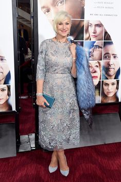"c782d6e6c4e Helen Mirren at the ""Collateral Beauty"" Premiere in Pelush Luxury Faux Fur  Coat, Marchesa Dress and Chloe Gosselin Pumps"