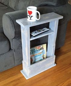 Small Space? No Problem! This skinny end table fits in any space ! -16 Long x 5.5 Wide x 24 Tall -Stained or painted in your color & lightly distressed with a smooth wax finish -Storage for magazines or books -3.5 wide shelf for decor or remotes Perfect for dorm decor, apartments, or any small space in your home! ---------------------------- Custom sizes available, Just ask! Pictured Color: light gray, distressed **Your item will be shipped USPS Parcel Ground Shipping and arrive with...