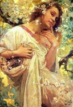 Original 1916 Spring oil on canvas 60.3 x 40.5© Alphonse Mucha Estate/Artists Rights Society (ARS), New York/ADAGP, Paris