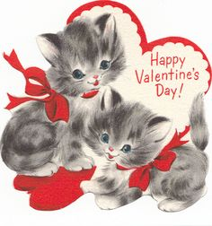 vintage two kitties valentine - Domestica - Valentine's day My Funny Valentine, Cat Valentine, Happy Valentines Day Images, Valentines Day Greetings, Valentine Greeting Cards, Vintage Valentine Cards, Vintage Greeting Cards, Love Valentines, Vintage Holiday