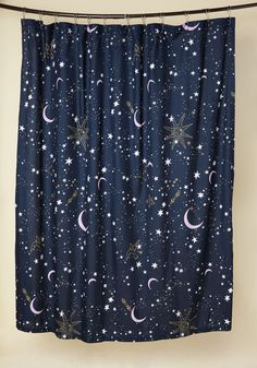 Star-Crossed Covers Shower Curtain - Blue, Multi, Purple, White, Multi, Gold, Novelty Print, Other Print, Boho, Dorm Decor, Statement, Cosmic, Gals