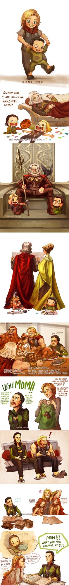 That's a lot of lip from you, young Loki.  The Frigga I imagine takes no shit from her kids...even though the movies like to prove me wrong.  xD  On the other side, Thor and Loki are such perfect brothers!