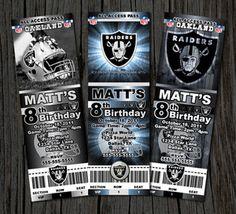 OAKLAND RAIDERS NFL CUSTOM BIRTHDAY PARTY TICKET INVITATIONS - LOTS OF DESIGNS Raiders Cake, Raiders Stuff, Nfl Raiders, Raiders Girl, Oakland Raiders Football, 30th Birthday For Him, Baby 1st Birthday, 40th Birthday Parties, Dj Board