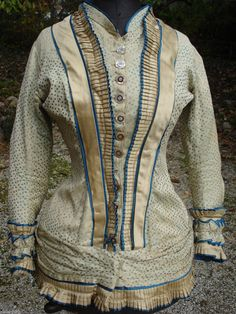 1870s extant French bodice off ebay. This is what I love on bodices, lots of details; tiny pleats everywhere.