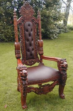 Carved Huge Gothic King Lion Dining Chair Carver Solid Mahogany