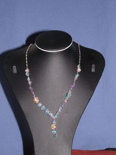 crystal butterflies on silver chain