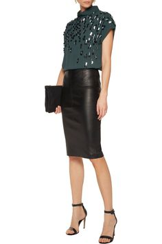 By Malene Birger Alsafia embellished crepe top .